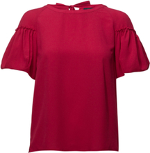 Crepe Light Puff Sleeve Top Blouses Short-sleeved Rød French Connection