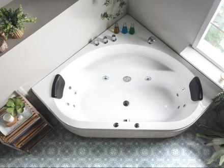 Hjørnebadekar med massage Hvid Meves