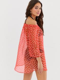 Brave Soul bardot heart print beach dress-Red