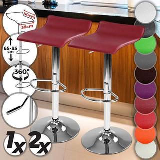 Barstole, imiteret læder, rød - sæt med 2 stole