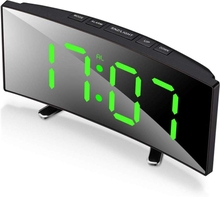 Digital Alarm Clock, 7 Inch Curved Dimmable LED Screen Digital Clock for Kids Bedroom, Green Large Number Clock, Lightweight Sma