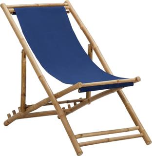 vidaXL Solstol bambu och kanvas marinblå