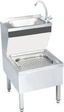 kommerciel håndvask med vandhane fritstående rustfrit stål