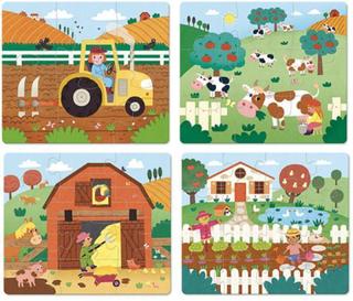 4 puslespil i træ - Ting på bondegården