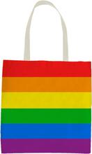 1x Katoenen boodschappen tasje regenboogkleuren/pride vlag 30 x 40 cm