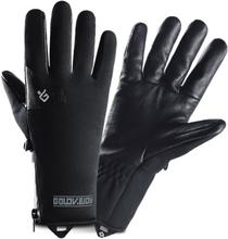Männer Winter Warm Winddicht Wasserdicht Leder Samt Vollfingerhandschuhe Outdoor Ski Fahren Handschuhe