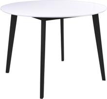 Hvidt rundt spisebord Ø105 cm m. sorte ben - Bjørk