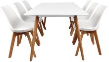 Nordic hvidt spisebordssæt 180 cm.