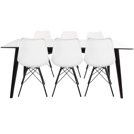 Spisebordssæt - Nora spisebord 195/285 cm + 6 x hvid Comfort stol