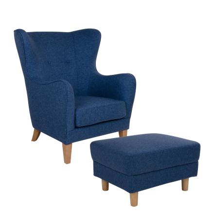 Oslo lænestol med puf - Blå