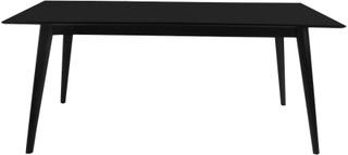 Sort spisebord 195/285 cm med 2 stk tillægsplader (Ekstra slidstærk bordplade)