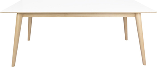 Hvidt spisebord 195/285 cm med 2 stk tillægsplader (Ekstra slidstærk bordplade) - Nora