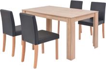 vidaXL Matbord och matstolar 5 delar konstläder ek svart