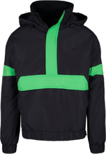 3-Tone Neon Mix Pull Over Jacket - Black/Neon Green