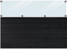 Plus Staket med glas Plank 124 cm-Svart