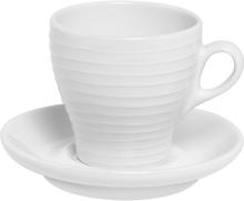 Design House Stockholm - Blond Cappuccinokopp m/skål 15 cl stripe Hvit