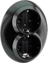 Schneider Electric Vägguttag Inf 2-V Jord Renova Svart Blister
