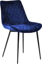 Grace velour stol mørkeblå - Polstret