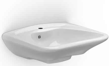 Pressalit Care MATRIX Curve håndvask m/hanehul & overløb - 60x49 cm
