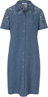 Klänning i rent linne från Peter Hahn blå