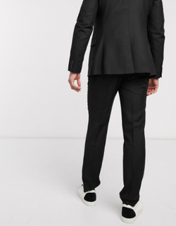 Topman slim suit trousers in black