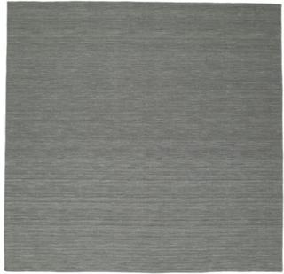 Kelim loom - Mørk grå teppe 300x300 Moderne, Kvadratisk Teppe