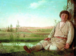 Sleeping Shepherd Boy,Alexei Venezianov,60x40cm