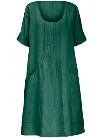 Klänning uppvikbara 3/4-ärmar – 100% linne från Anna Aura grön