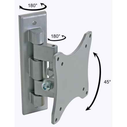 Perel dreje-monteringsbeslag til fladskærm 25-38 cm sølv CWB008