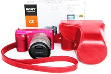 Sony NEX-F3 Beskyttelsesveske laget av kunstlær - Rød