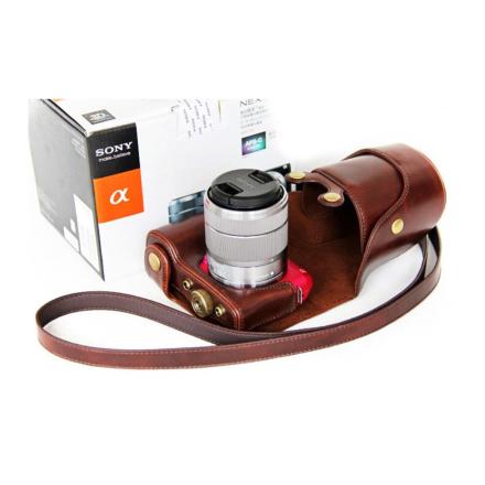Sony NEX-F3 Beskyttelsesveske laget av kunstlær - Kaffe farge