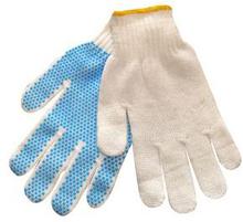 Strikkehandske m/prikker, Polyester, pakke med 12 stk, str. 7