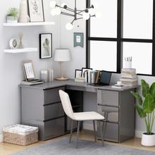 vidaXL Hörnskrivbord grå högglans 145x100x76 cm spånskiva
