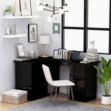 vidaXL Hjørneskrivebord høyglans svart 145x100x76 cm sponplate
