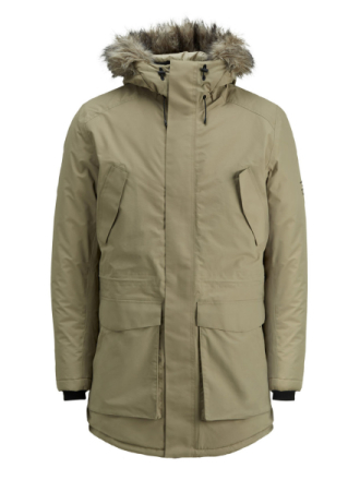 JACK & JONES Waterproof Parka Coat Men Beige