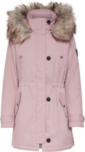 ONLY Solid Parka Coat Women Pink