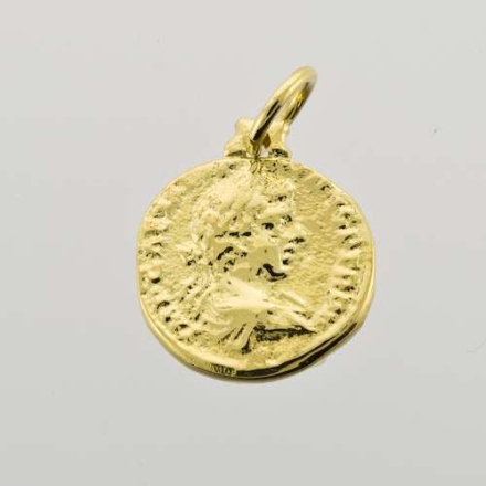Gull mynt anheng med øsken