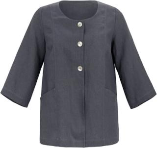 Jacka 3/4-ärm i rent linne från Emilia Lay grå