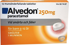 Alvedon munsönderfallande tablett 250 mg 12 st (15-40 kg)