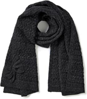 Tørklæde aktuelt strukturmønster Fra Peter Hahn Cashmere sort
