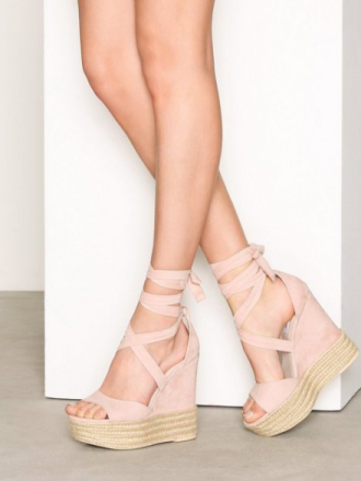 High Heel - Dusty Pink NLY Shoes Lace Wedge Sandal