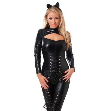 Rimba - Wetlook catsuit with long zipper and hair piece