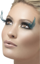 Eyelashes Black and Green with Feather Plume Contains Glue