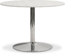 Plaza runt matbord - Vit marmor / krom