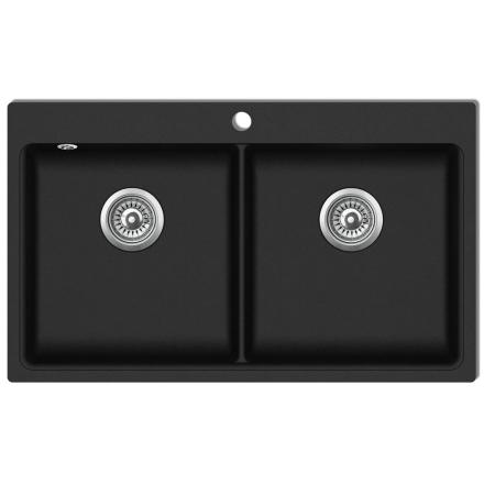 vidaXL Overflademonteret dobbelt køkkenvask i granit, sort