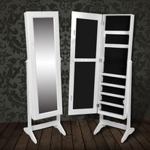 vidaXL fritstående smykkeskab med spejl hvid