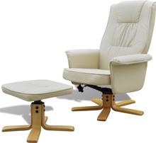 vidaXL lænestol med fodskammel justérbar kunstlæder cremehvid