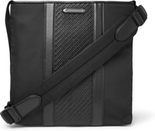 Pelle Tessuta Leather And Nylon Messenger Bag - Black