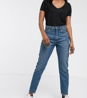Monki – Kimomo – Klassiskt blå mom jeans i ekologisk bomull med hög midja