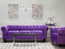 Sohvasetti samettinen violetti CHESTERFIELD